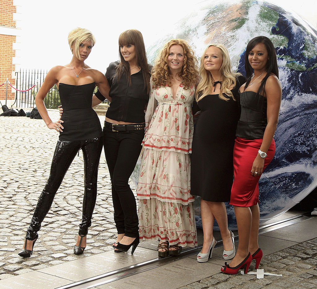 Victoria Beckham, Melanie Chisholm (Mel C), Geri Halliwell, Emma Bunton and Melanie Brown (Mel B) pose for a photocall at the Royal Observatory, Greenwich ahead of their news conference later today on June 28, 2007, in London, England. (Photo by Getty Images)