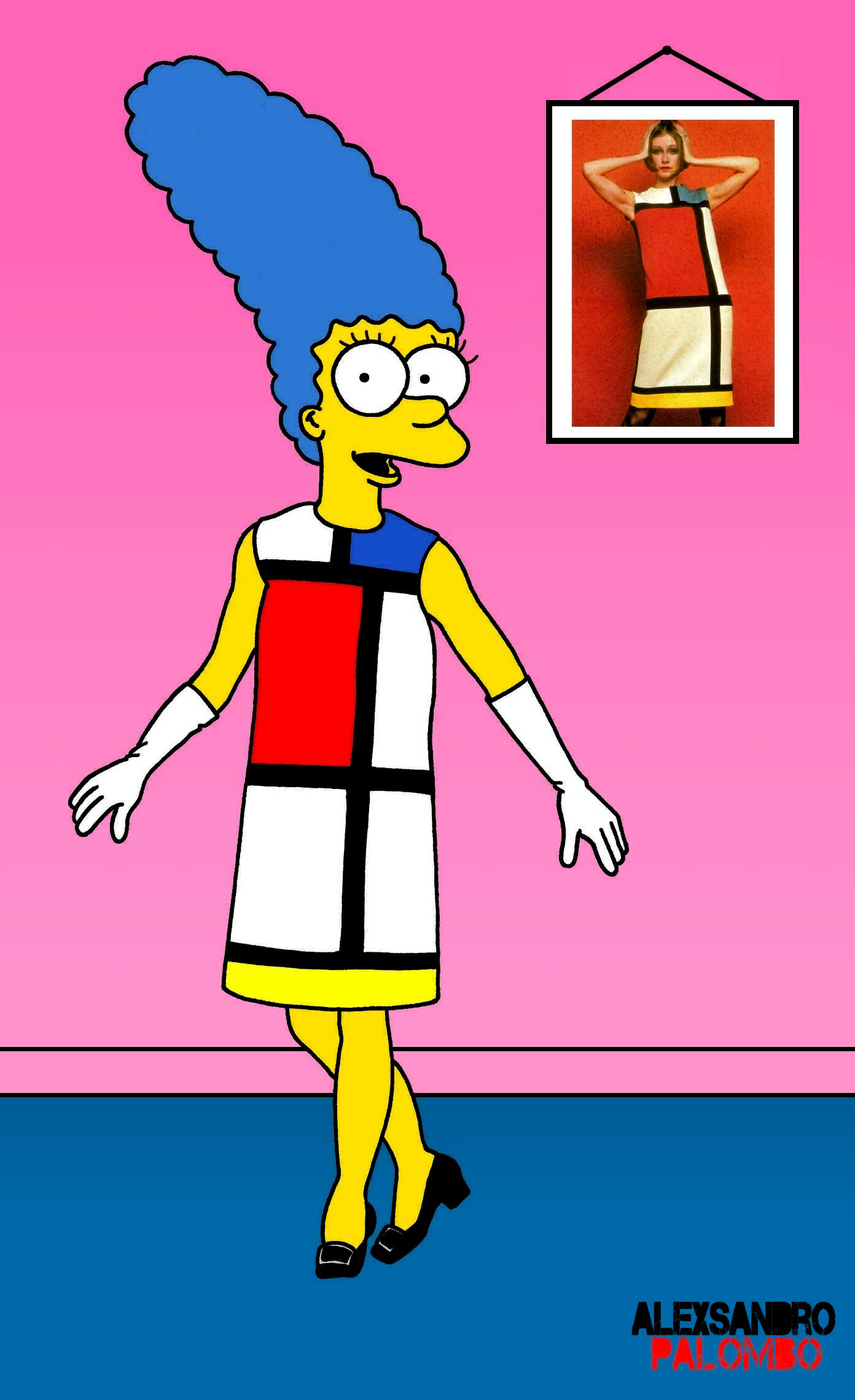 "On February 12th the Yves Saint-Laurent Museum in Paris inaugurated an exhibition with the iconic clothes of Yves Saint-Laurent and Mondrian where you will find Palombo's ""Marge Simpson in Mondrian"", a work of 2012."