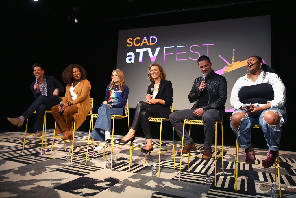 (L-R) Mike Daniels, Lorraine Toussaint, Grace Van Dien, Michaela McManus, Warren Christie speak onstage at 'The Village' screening during SCAD aTVfest 2019 at SCADshow on February 9, 2019 in Atlanta, Georgia. (Photo by Tasos Katopodis/Getty Images for SCAD aTVfest 2019 )