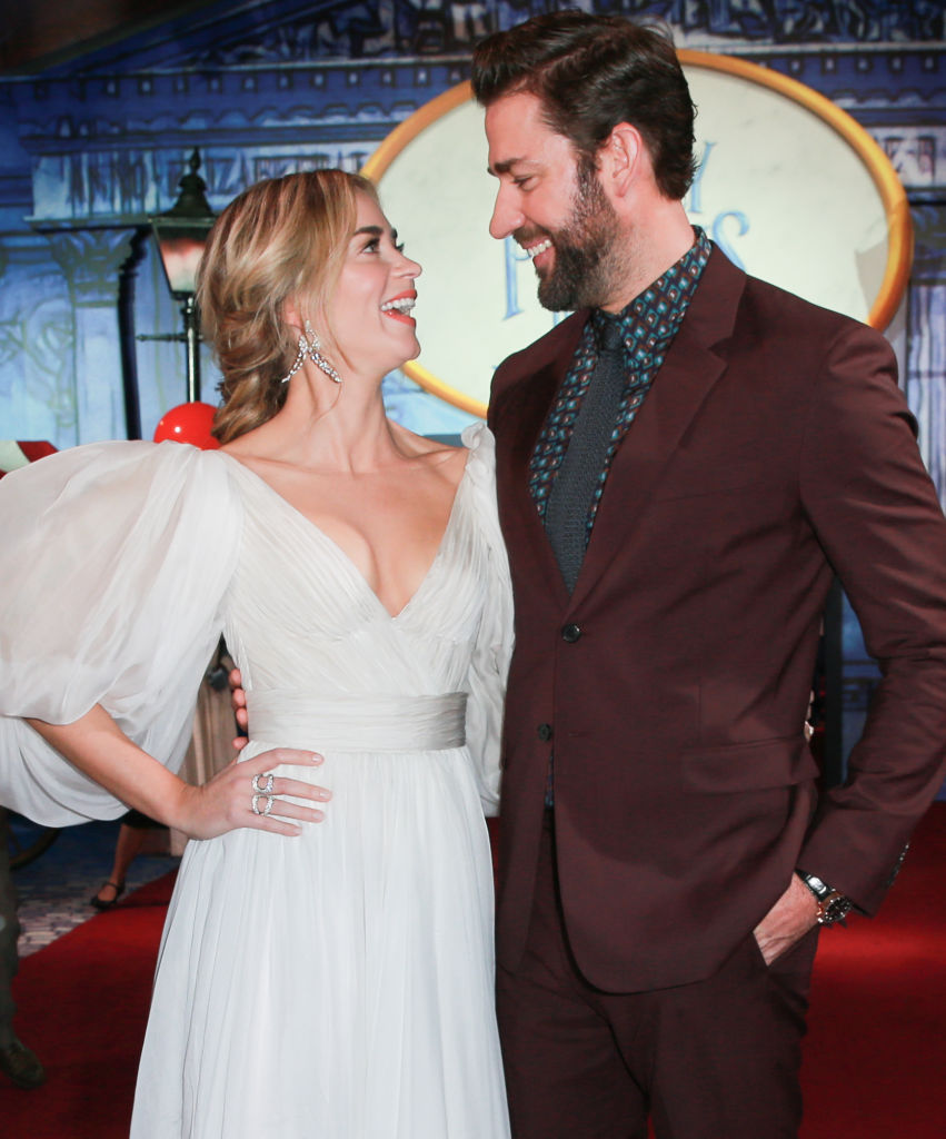 Emily Blunt (L) and John Krasinski attend the Premiere Of Disney's 'Mary Poppins Returns' at El Capitan Theatre on November 29, 2018 in Los Angeles, California. (Photo by Rich Fury/Getty Images)
