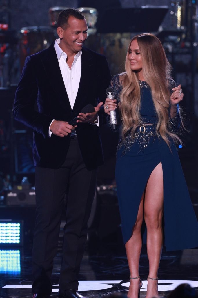 Alex Rodriguez and Jennifer Lopez speak onstage during 'One Voice: Somos Live! A Concert For Disaster Relief' at the Universal Studios Lot on October 14, 2017, in Los Angeles, California. (Photo by Jordin Althaus/NBCUniversal/One Voice: Somos Live!/Getty Images)