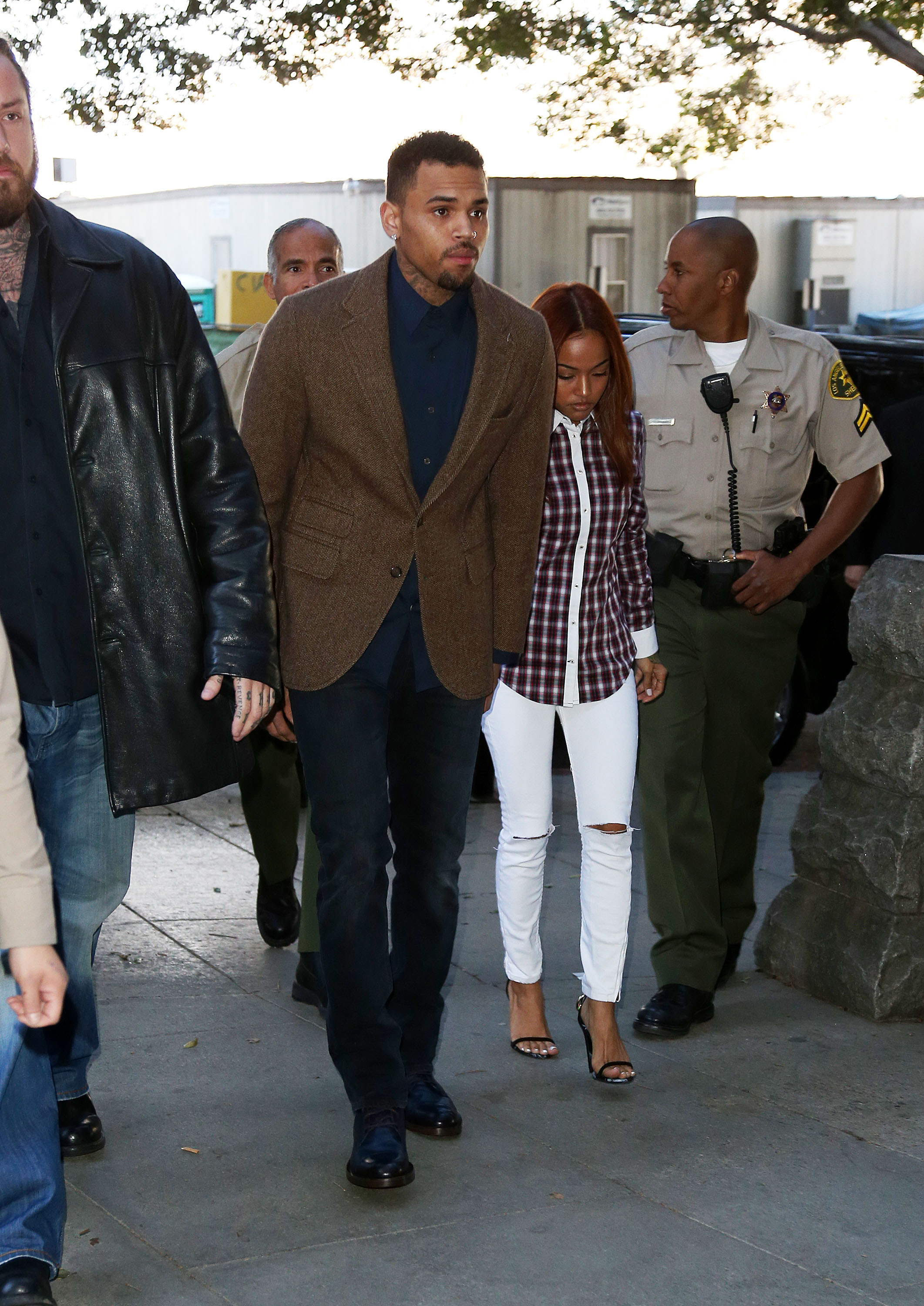 Recording artist Chris Brown enters the Los Angeles Courthouse on February 3, 2014 in Los Angeles, California. (Photo by Frederick M. Brown/Getty Images)