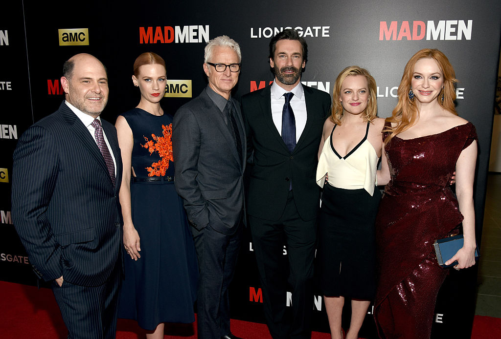 From left: Matthew Weiner, January Jones, John Slattery, Jon Hamm, Elisabeth Moss and Christina Hendricks attend the 'Mad Men' New York Special Screening at The Museum of Modern Art in 2015 in New York City. (Source: Getty Images)