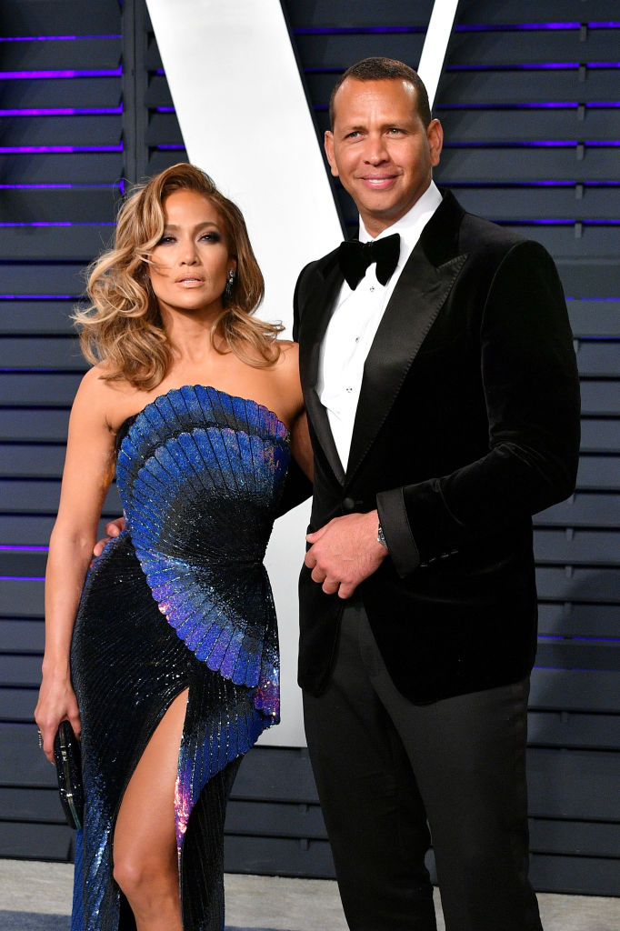 Jennifer Lopez (L) and Alex Rodriguez attend the 2019 Vanity Fair Oscar Party hosted by Radhika Jones at Wallis Annenberg Center for the Performing Arts on February 24, 2019 in Beverly Hills, California. (Photo by Dia Dipasupil/Getty Images)