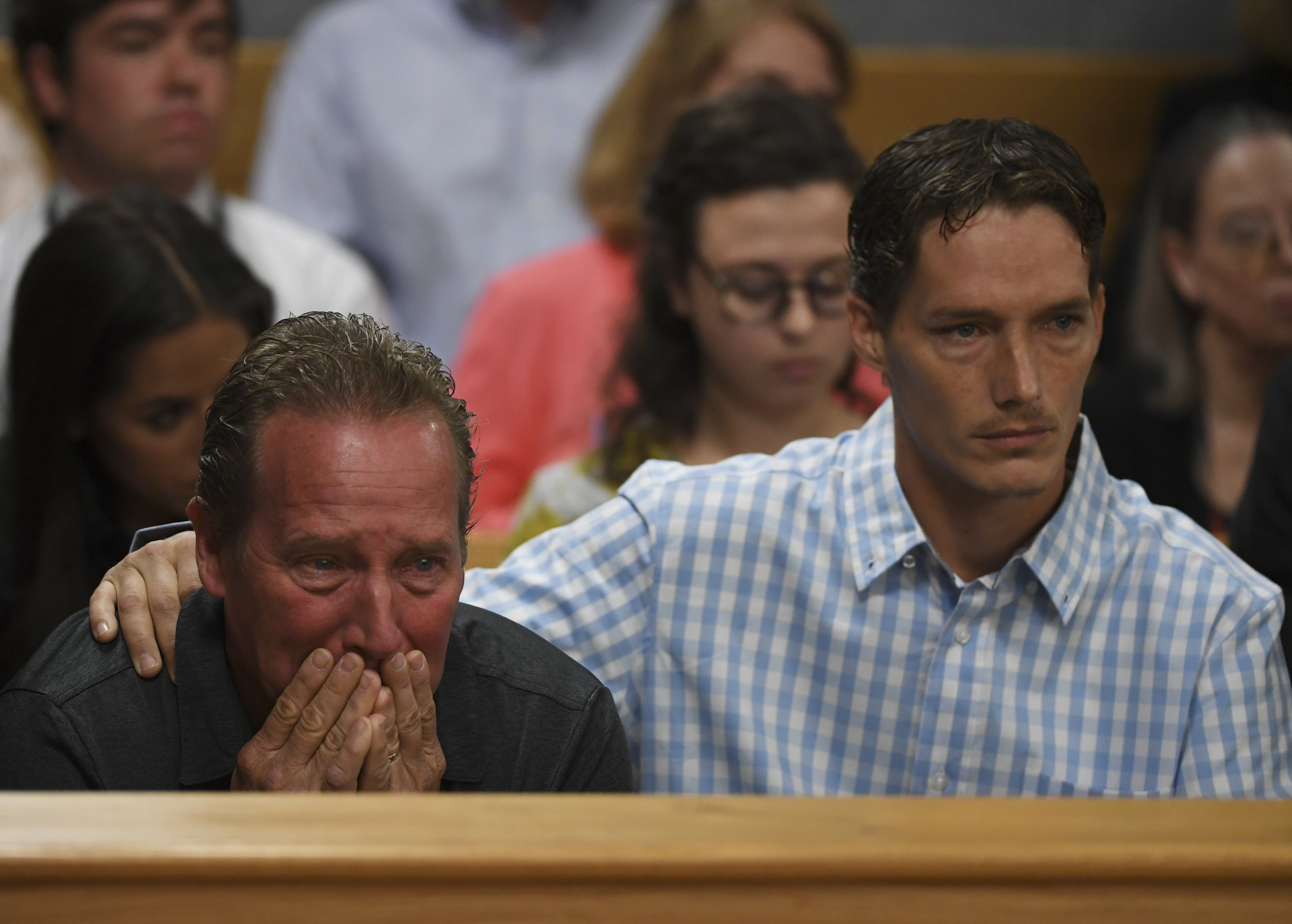 Frank Rzucek the father of Shanann Watts, left, and her brother Frankie Rzucek were in court for Christopher Watts arraignment hearing at the Weld County Courthouse on August 21, 2018, in Greeley, Colorado. (Getty)
