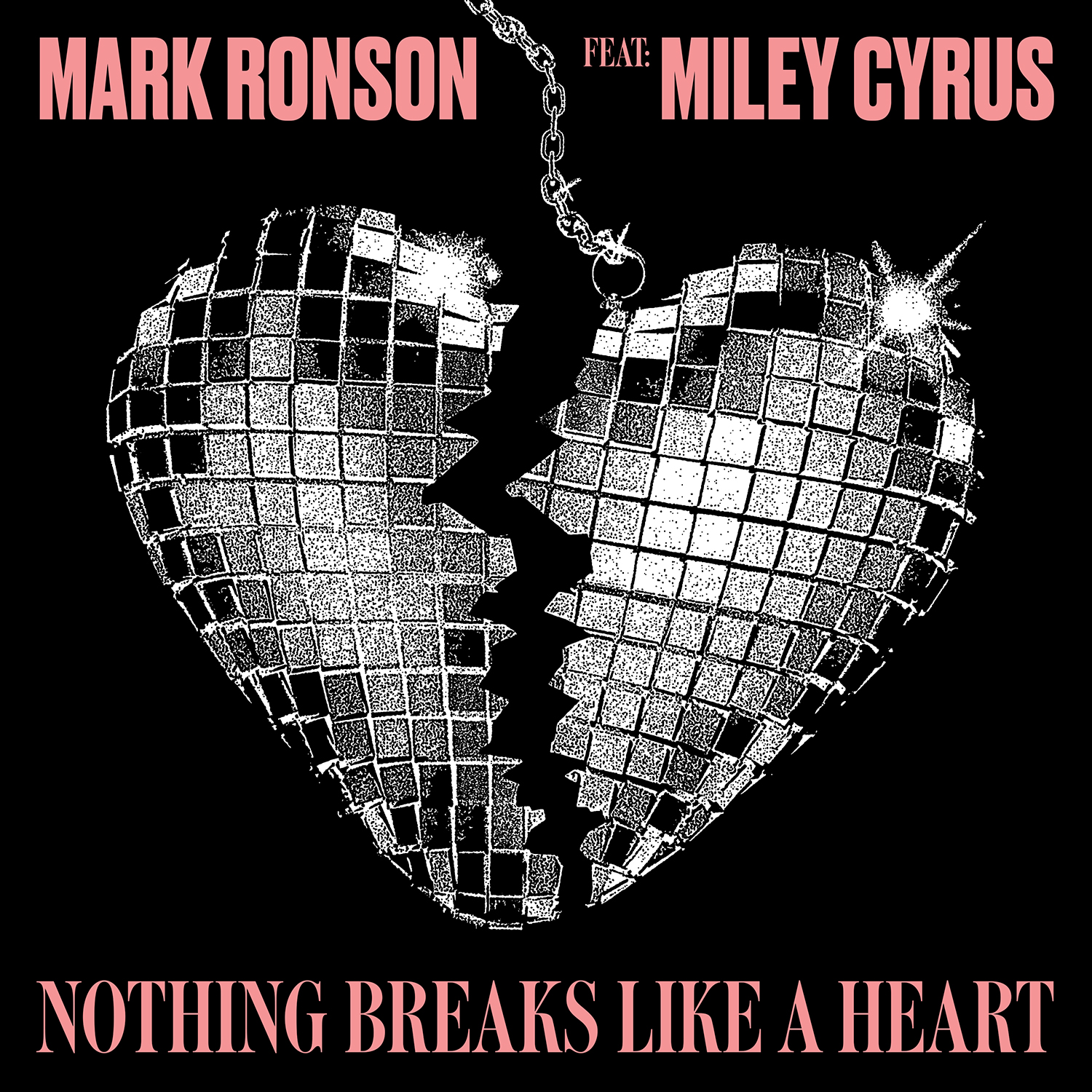 The cover art for 'Nothing Breaks Like A heart' shows a disco ball shaped like a broken heart.