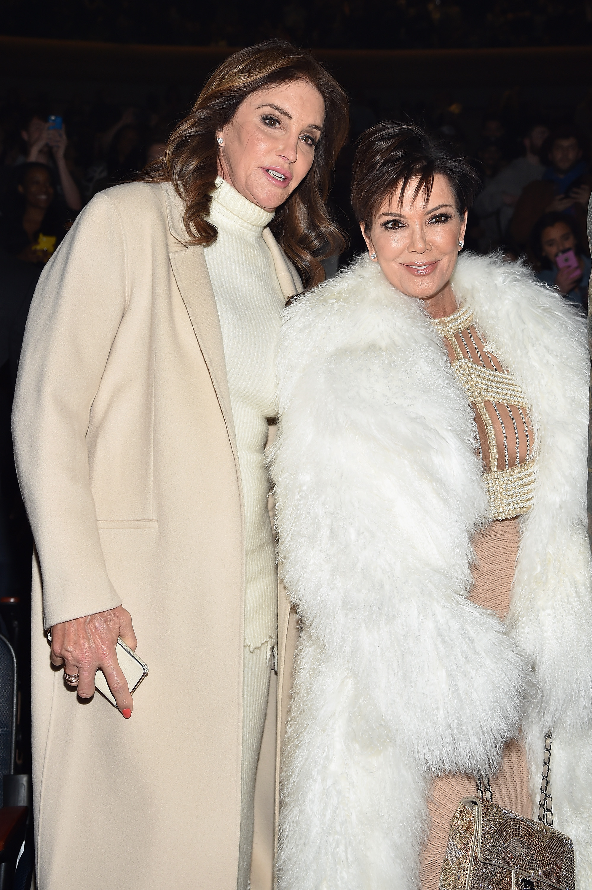 Caitlyn Jenner (L) and Kris Jenner attend Kanye West Yeezy Season 3 on February 11, 2016, in New York City (Source: Getty Images)