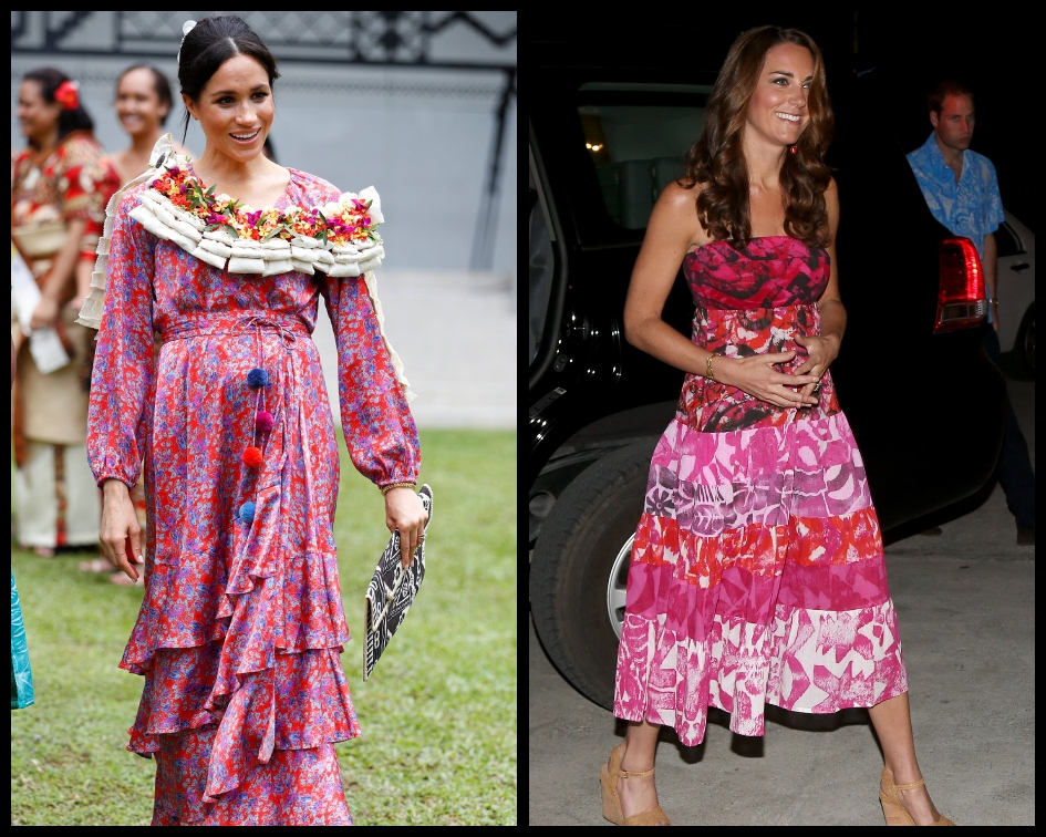 The two Duchesses were even wearing matching wedge espadrilles despite the tours being six years apart (Getty Images)