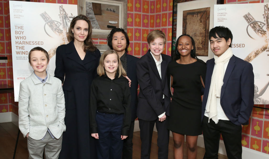 Angelina Jolie with children Knox Leon Jolie-Pitt, Vivienne Marcheline Jolie-Pitt, Pax Thien Jolie-Pitt, Shiloh Nouvel Jolie-Pitt, Zahara Marley Jolie-Pitt and Maddox Chivan Jolie-Pitt attend 'The Boy Who Harnessed The Wind' Special Screening at Crosby Street Hotel on February 25, 2019 in New York City. (Photo by Monica Schipper/Getty Images for Netflix)