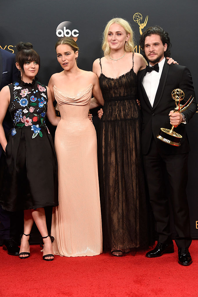 Actors Maisie Williams, Emilia Clarke, Sophie Turner and Kit Harington, winners of Best Drama Series for 'Game of Thrones', pose in the press room during the 68th Annual Primetime Emmy Awards at Microsoft Theater on September 18, 2016 in Los Angeles, California. (Photo by Frazer Harrison/Getty Images)