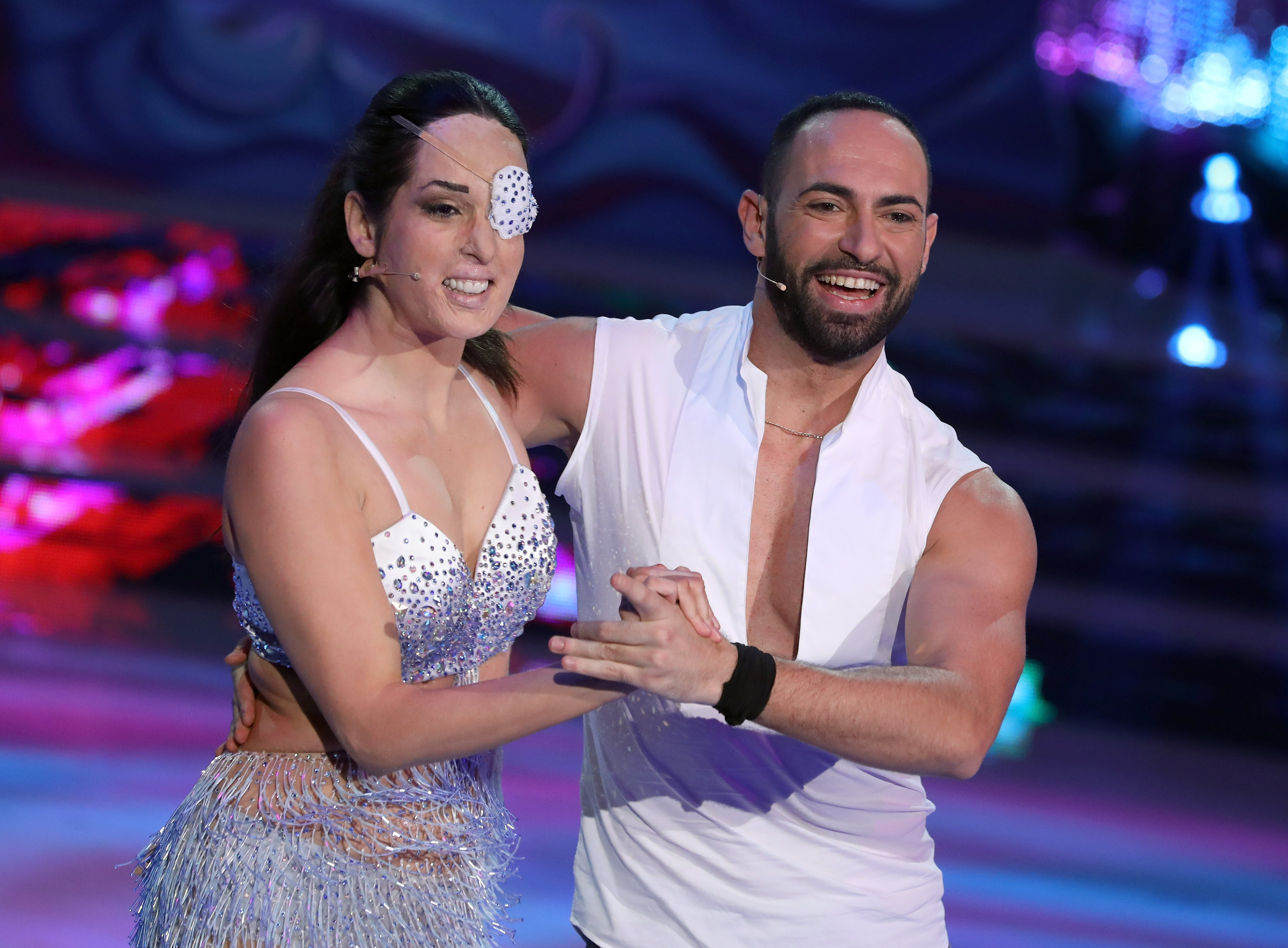 Gessica Notaro and her dance partner Stefano Oradei perform on the Italian TV show 'Ballando Con Le Stelle' (Dancing with the Stars) at RAI Auditorium on March 10, 2018, in Rome, Italy. (Getty Images)