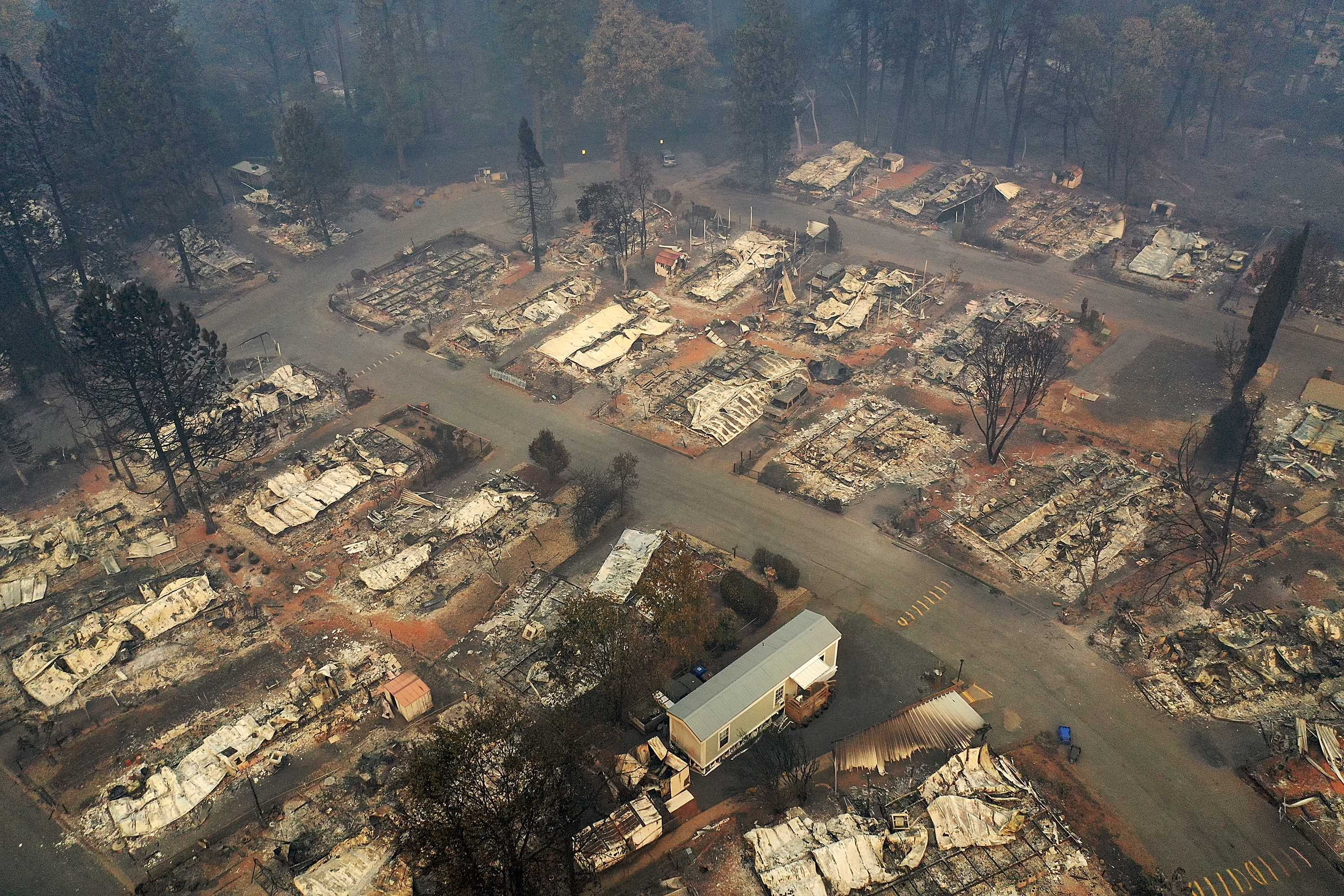 An aerial view of a neighborhood destroyed by the Camp Fire on November 15, 2018 in Paradise, California.  (Photo by Justin Sullivan/Getty Images)