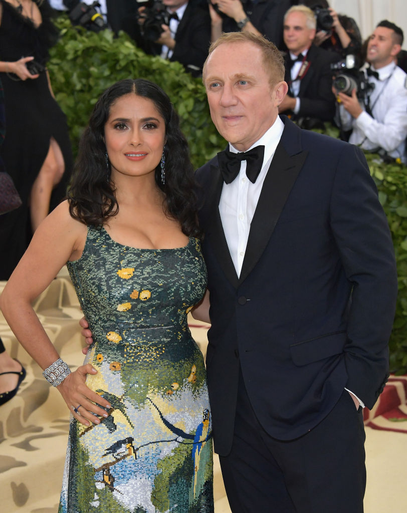 Salma Hayek and Francois-Henri Pinault attend the Heavenly Bodies: Fashion & The Catholic Imagination Costume Institute Gala at The Metropolitan Museum of Art on May 7, 2018 in New York City. (Photo by Neilson Barnard/Getty Images)