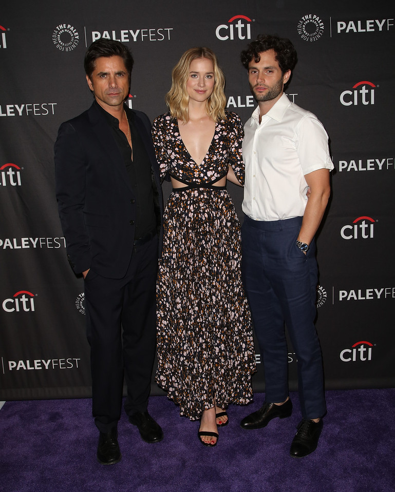 John Stamos, Elizatbeth Lail, and Penn Badgley arrive at The Paley Center for Media's 12th Annual PaleyFest Fall TV Previews celebrating Lifetime's YOU at the Paley Center in Beverly Hills on September 9, 2018. © Brian To for the Paley Center
