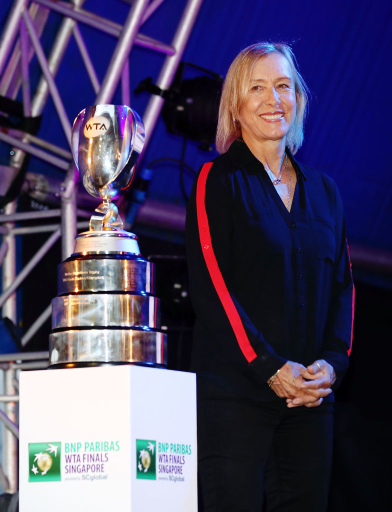 WTA Legend Martina Navratilova during the Doubles Draw Ceremony at Marina Bay Sands on October 23, 2018, in Singapore. (Source: Clive Brunskill/Getty Images)