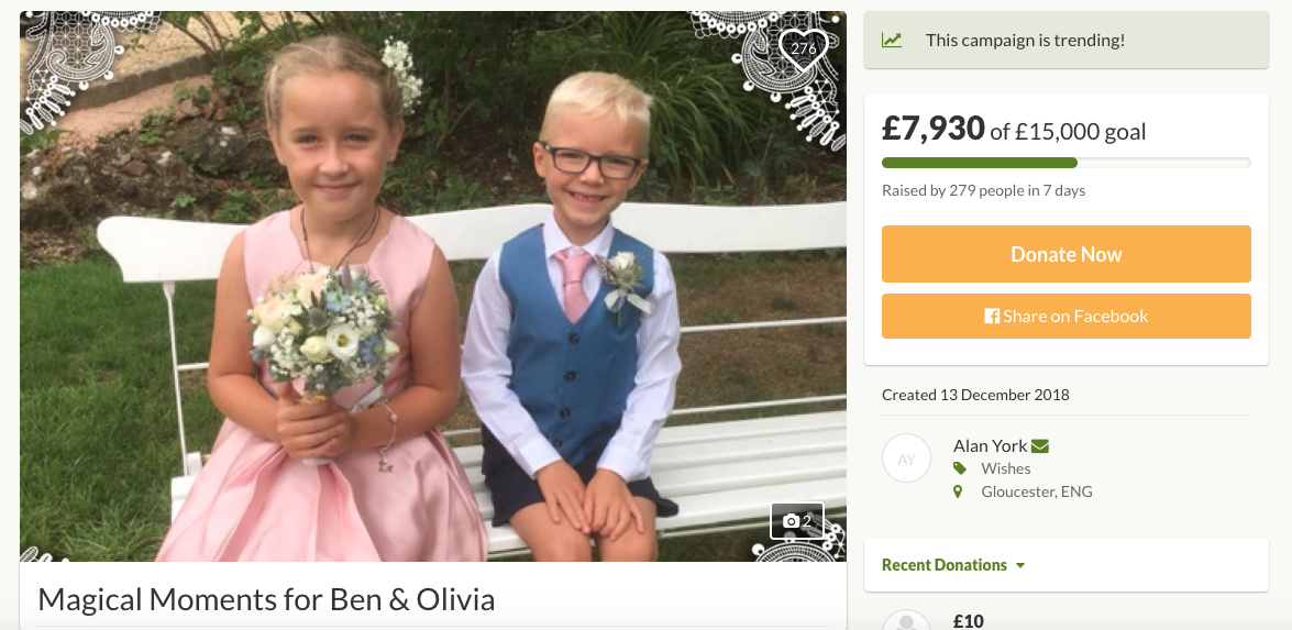 Screenshot of the GoFundMe page set up for the family.