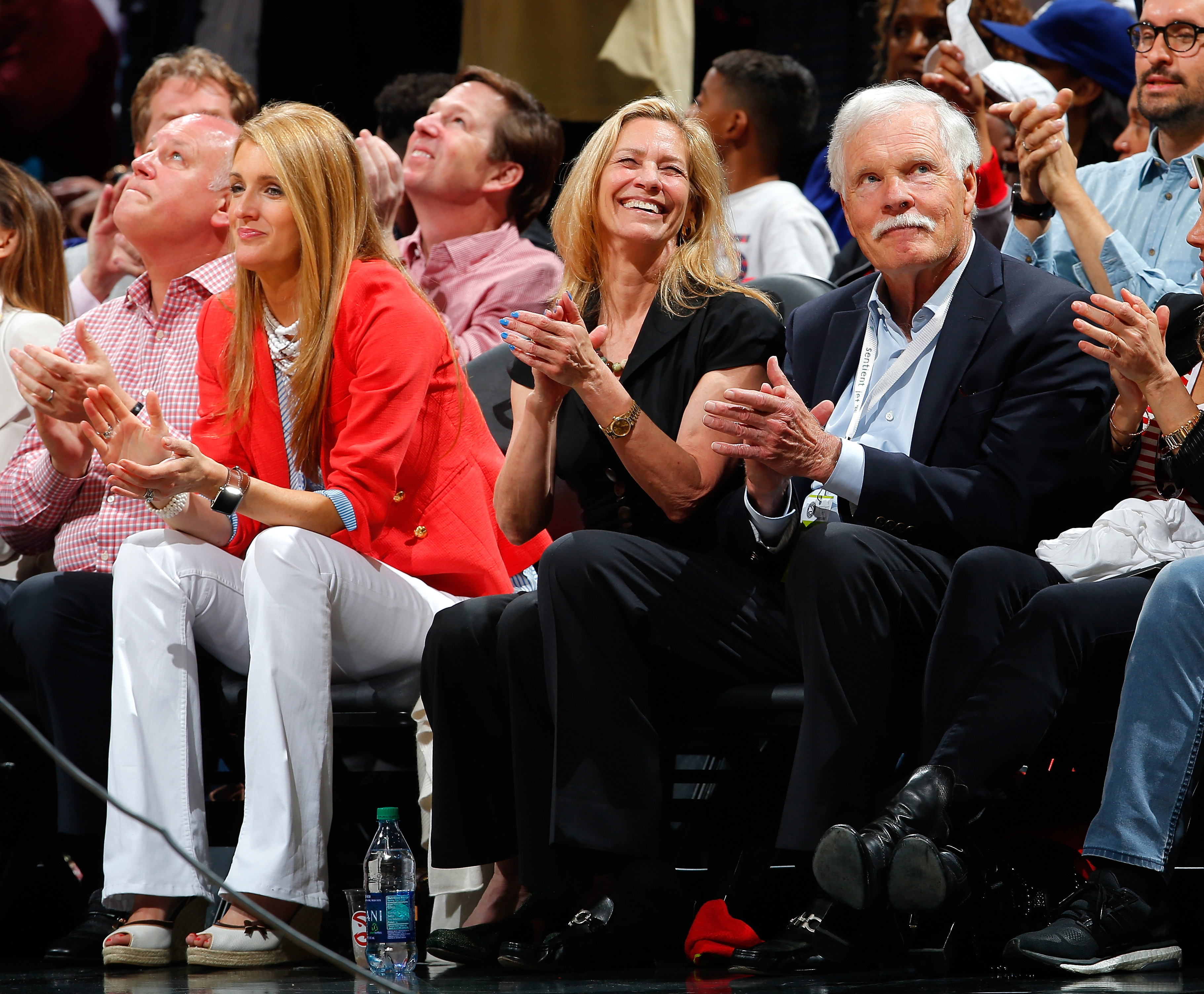 Ted Turner attends Game Five of the Eastern Conference Quarterfinals between the Atlanta Hawks and the Boston Celtics during the 2016 NBA Playoffs at Philips Arena on April 26, 2016, in Atlanta, Georgia. (Getty Images)