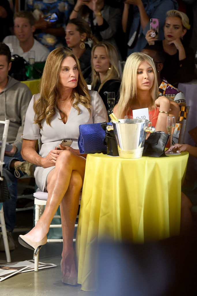 Caitlyn Jenner and Sophia Hutchins attend the Badgley Mischka Spring 2019 Runway Show during New York Fashion at Gallery I at Spring Studios on September 8, 2018 in New York City. (Photo by Nicholas Hunt/Getty Images for Badgley Mischka)