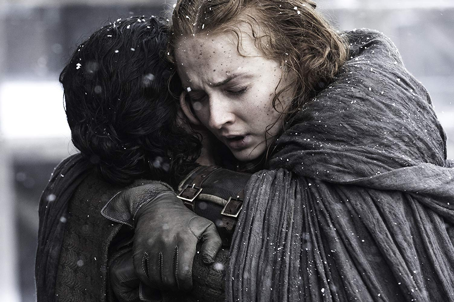 Kit Harington (Jon Snow) and Sophie Turner (Sansa Stark) in Game of Thrones. Source: IMDB