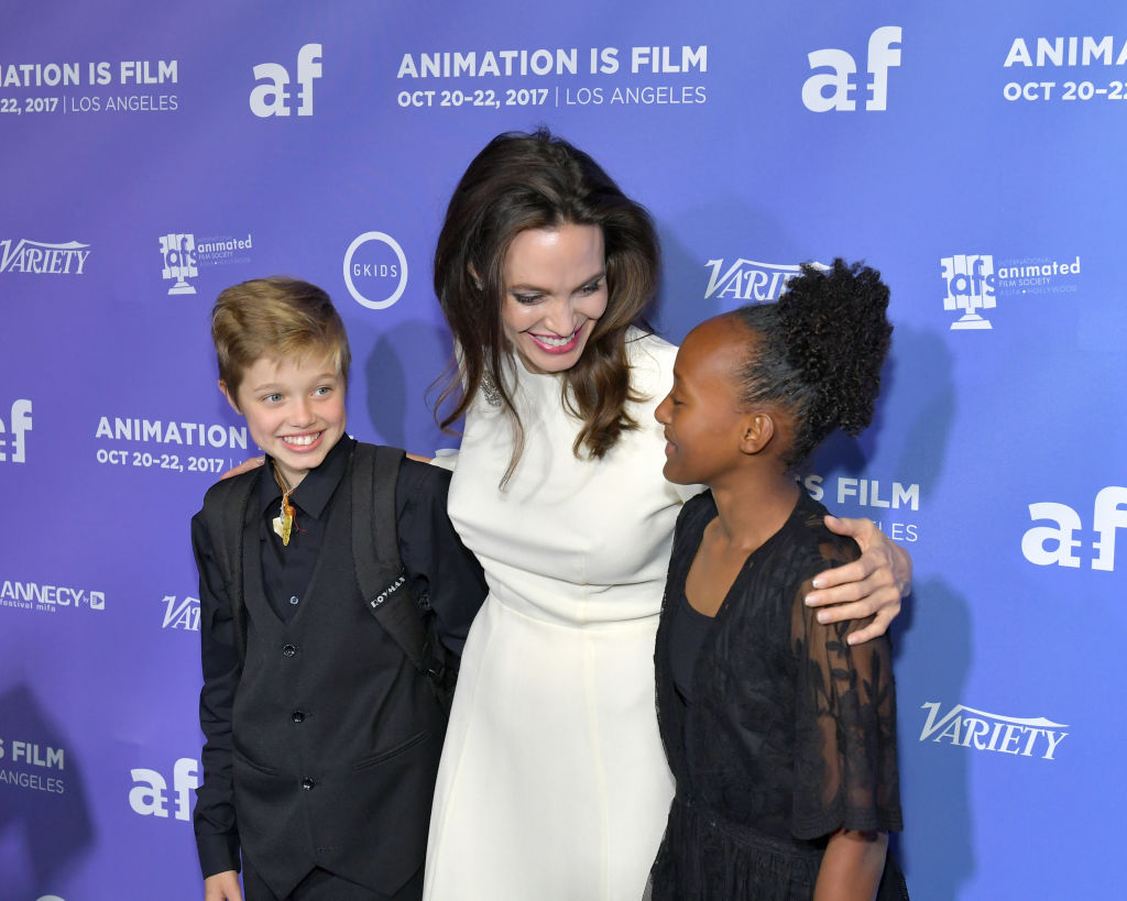 Shiloh Jolie-Pitt, Angelina Jolie and Zahara Jolie-Pitt attend the Premiere Of Gkids' 'The Breadwinner' at TCL Chinese 6 Theatres on October 20, 2017 in Hollywood, California. (Photo by Neilson Barnard/Getty Images)