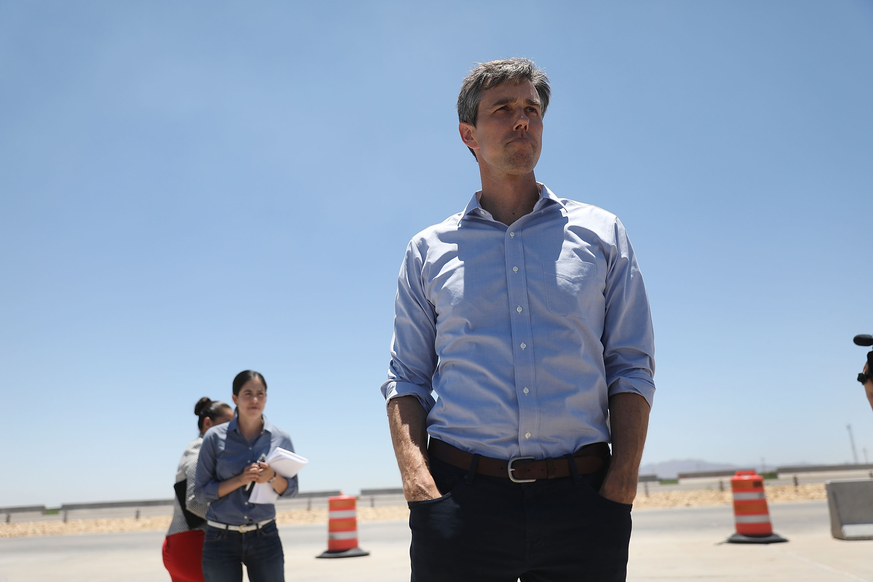 Rep. Beto O'Rourke (D-TX) arrives for a tour with other politicans of the tent encampment recently built near the Tornillo-Guadalupe Port of Entry on June 23, 2018 in Tornillo, Texas. (Getty Images)