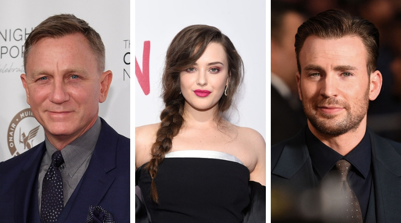 Daniel Craig, Katherine Langford and Chris Evans (Source: Getty Images)