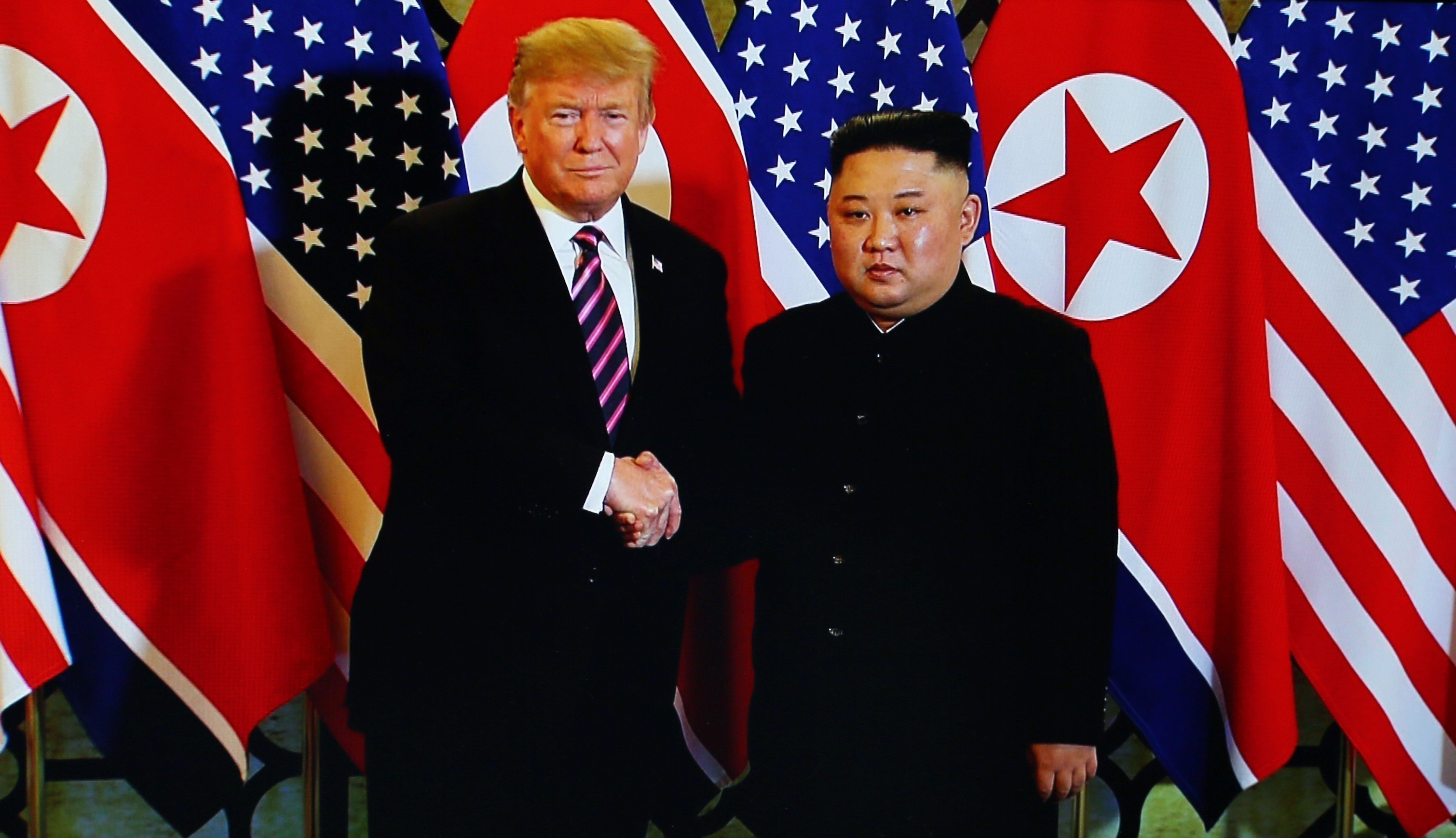A handout photo of U.S. President Donald Trump and North Korean leader Kim Jong-un during their second summit meeting at the Sofitel Legend Metropole hotel on February 27, 2019 in Hanoi, Vietnam. (Getty Images)