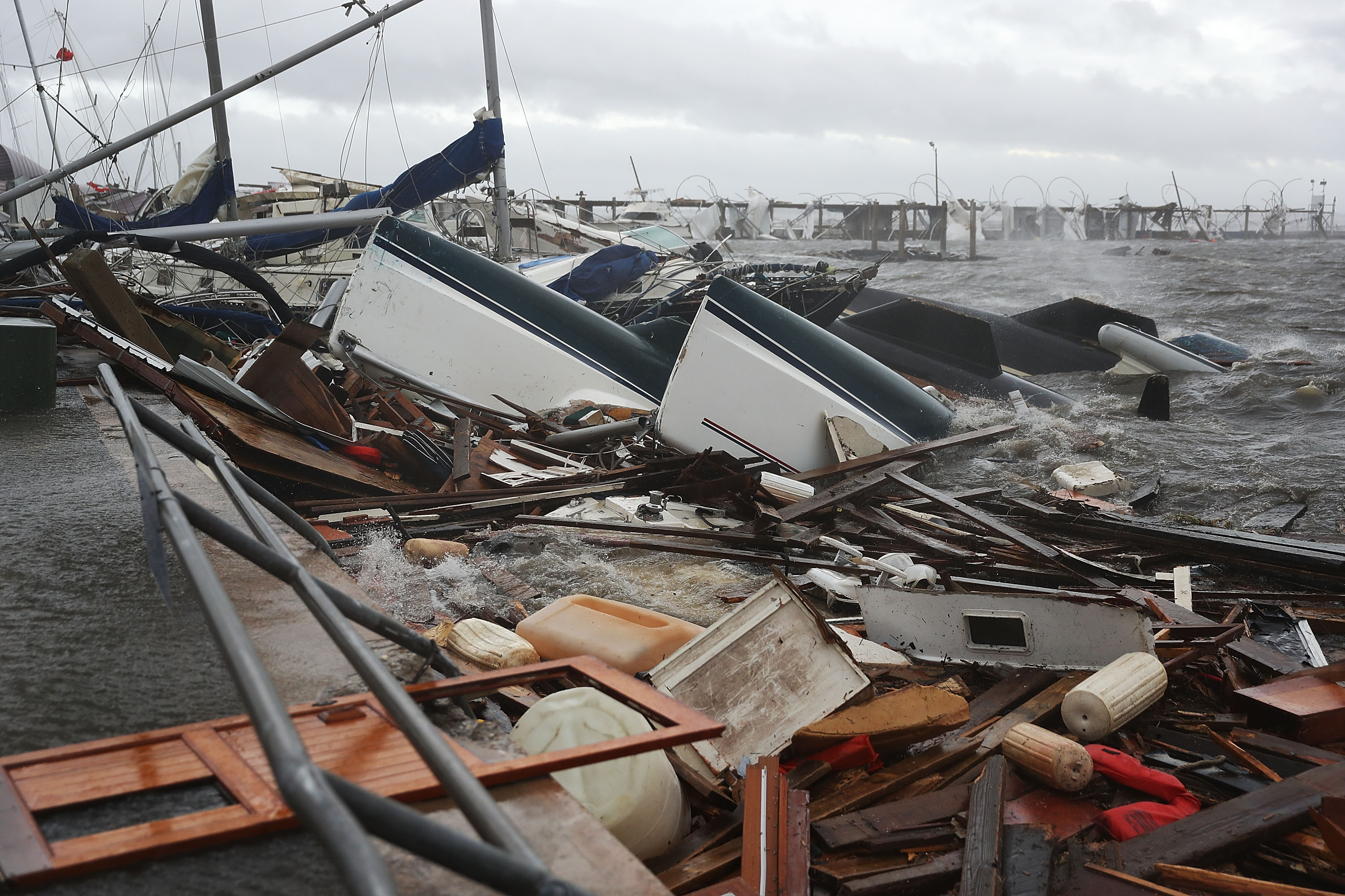 Boats that were docked are seen in a pile of rubble after hurricane Michael passed through the downtown area on October 10, 2018 in Panama City, Florida. The hurricane hit the Florida Panhandle as a category 4 storm.