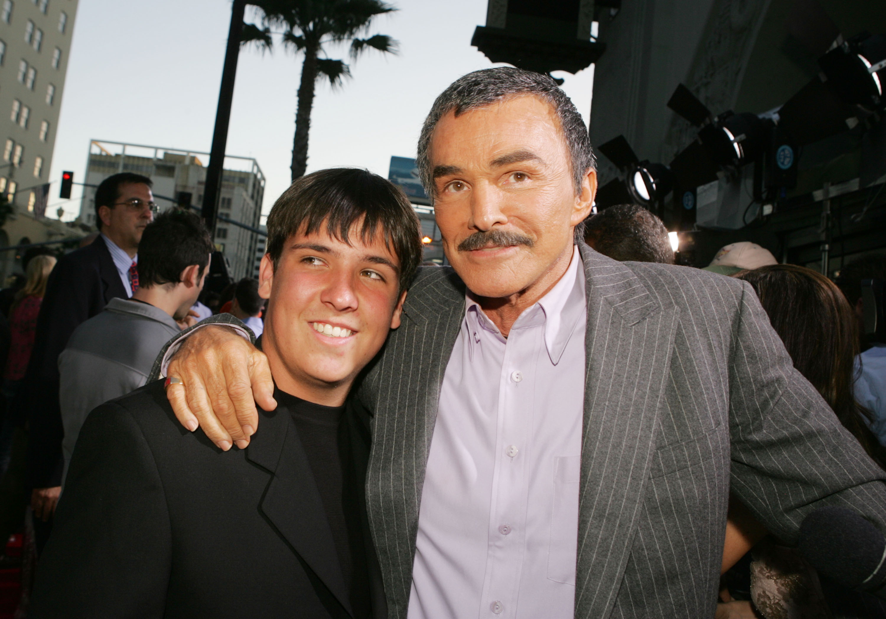 Actor Burt Reynolds and his son Quinton arrive at the premiere of Paramount Pictures' 'The Longest Yard' at the Chinese Theater on May 19, 2005 in Los Angeles, California.