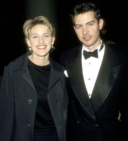 Comedienne Ellen DeGeneres and brother Vance attend the 52nd Annual Golden Globe Awards on January 21, 1995, at the Beverly Hilton Hotel in Beverly Hills, California. (Getty Images)