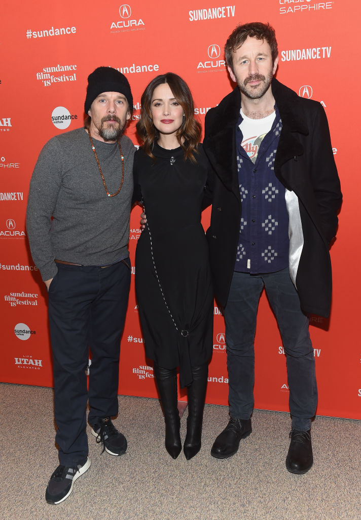 Actors Ethan Hawke, Rose Byrne, and Chris O'Dowd attend the 'Juliet, Naked' Premiere during the 2018 Sundance Film Festival at Eccles Center Theatre on January 19, 2018 in Park City, Utah. (Photo by Nicholas Hunt/Getty Images)