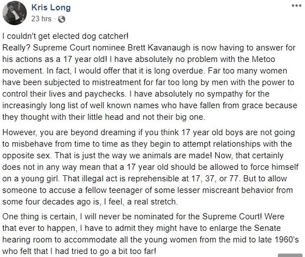 Screenshot of Long's deleted post defending Kavanaugh on Facebook.