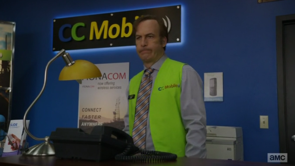 Jimmy's new job at the cell phone store is proving to be quite slow (Source: AMC)