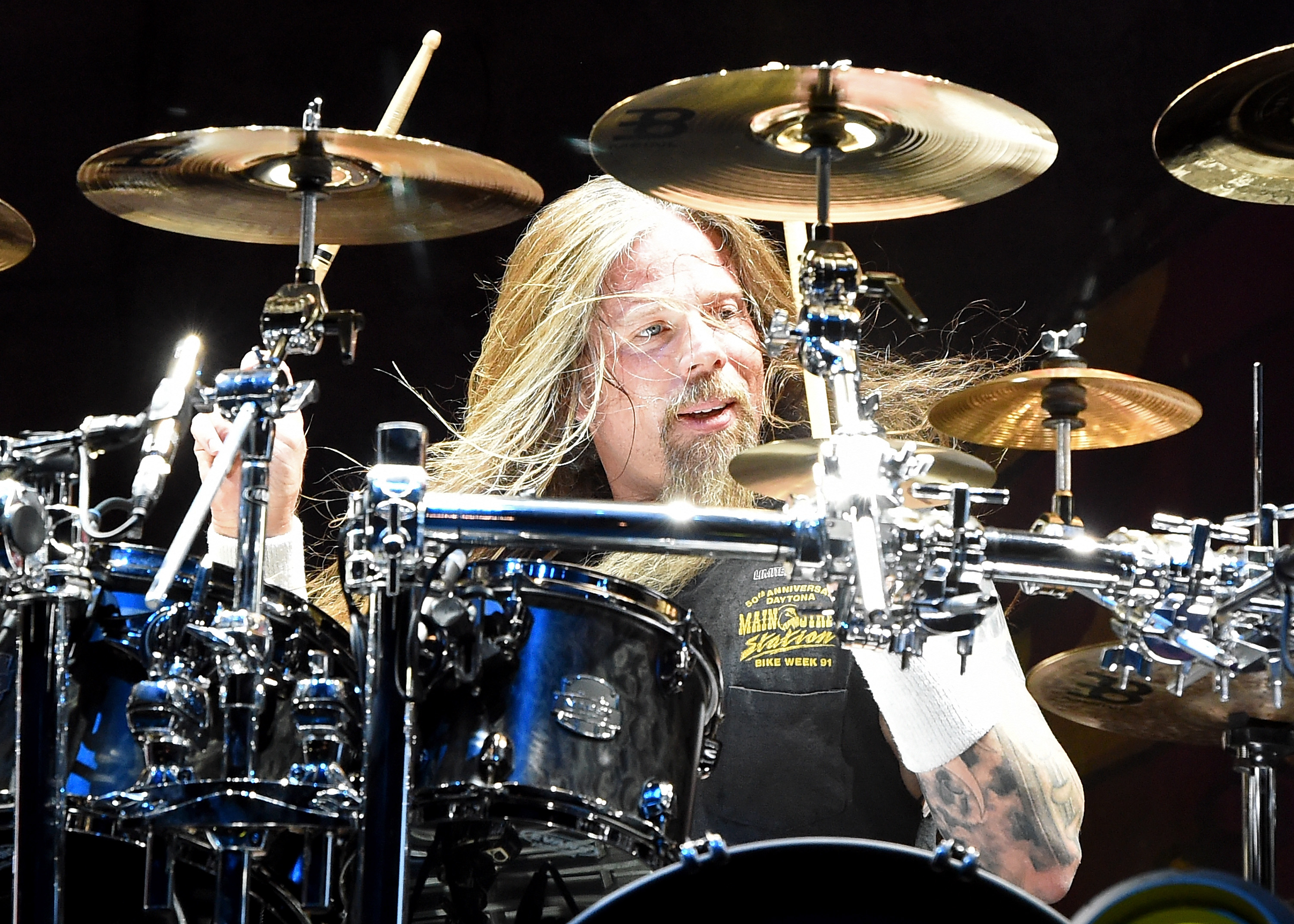 Drummer Chris Adler of Lamb of God performs at the Las Vegas Village on August 28, 2015, in Las Vegas, Nevada. (Getty Images)