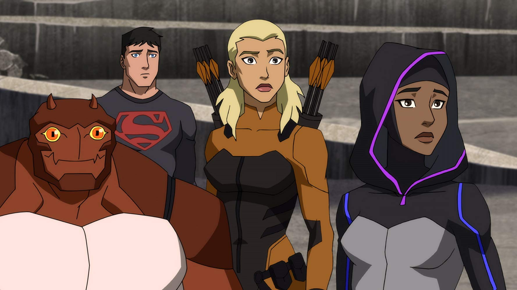 Forager, Superboy, Huntress, and Halo in 'Young Justice: Outsiders'. Source: IMDB