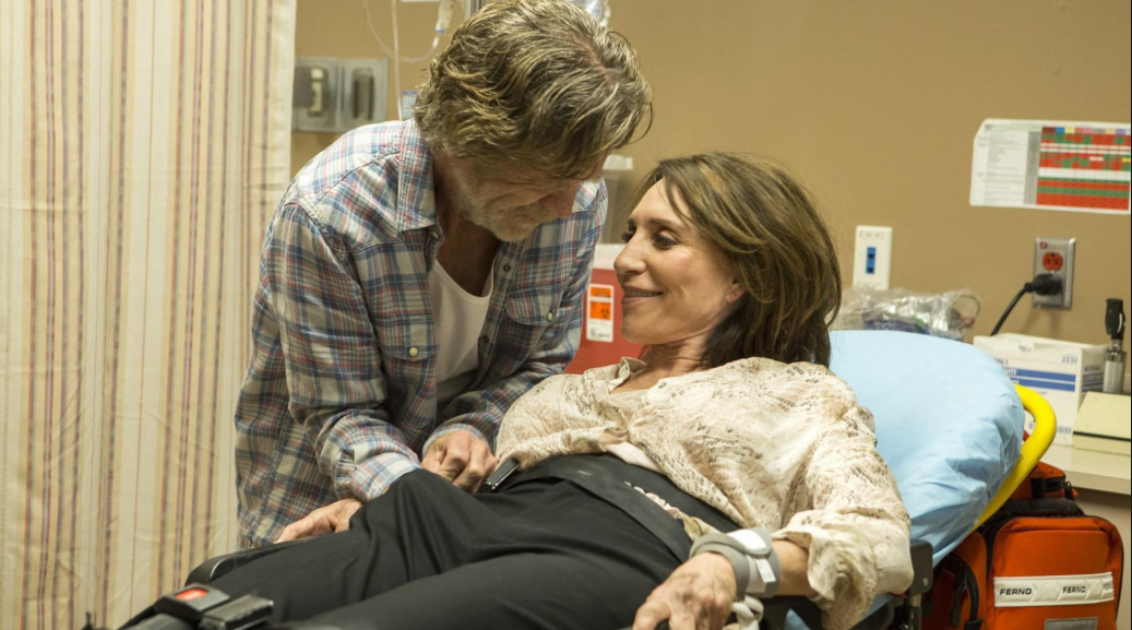 William H. Macy (L) and Katey Sagal (R) in a scene from Shameless season 9.