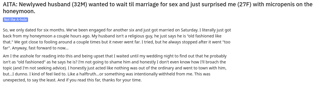 Woman takes to Reddit after finding out her husband has