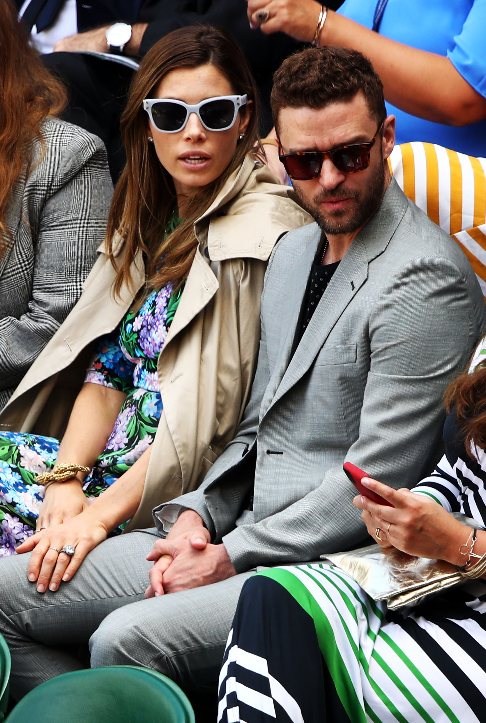 Justin Timberlake and his wife Jessica Biel attend day eight of the Wimbledon Lawn Tennis Championships at All England Lawn Tennis and Croquet Club on July 10, 2018 in London, England.