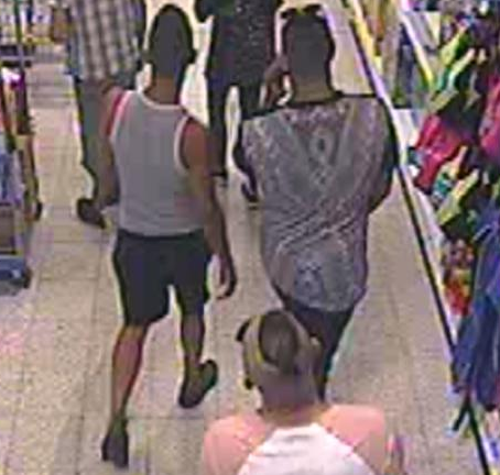 The trio can be seen stalking the victim in the department store footage (Source: West Mercia Police)