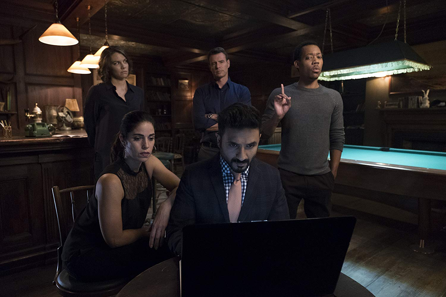 Scott Foley, Ana Ortiz, Lauren Cohan, Tyler James Williams, and Vir Das in 'Whiskey Cavalier'. (Source: IMDB)