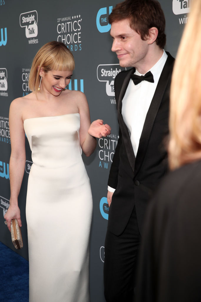 Actors Emma Roberts and Evan Peters attend The 23rd Annual Critics' Choice Awards at Barker Hangar on January 11, 2018 in Santa Monica, California. (Photo by Christopher Polk/Getty Images for The Critics' Choice Awards )