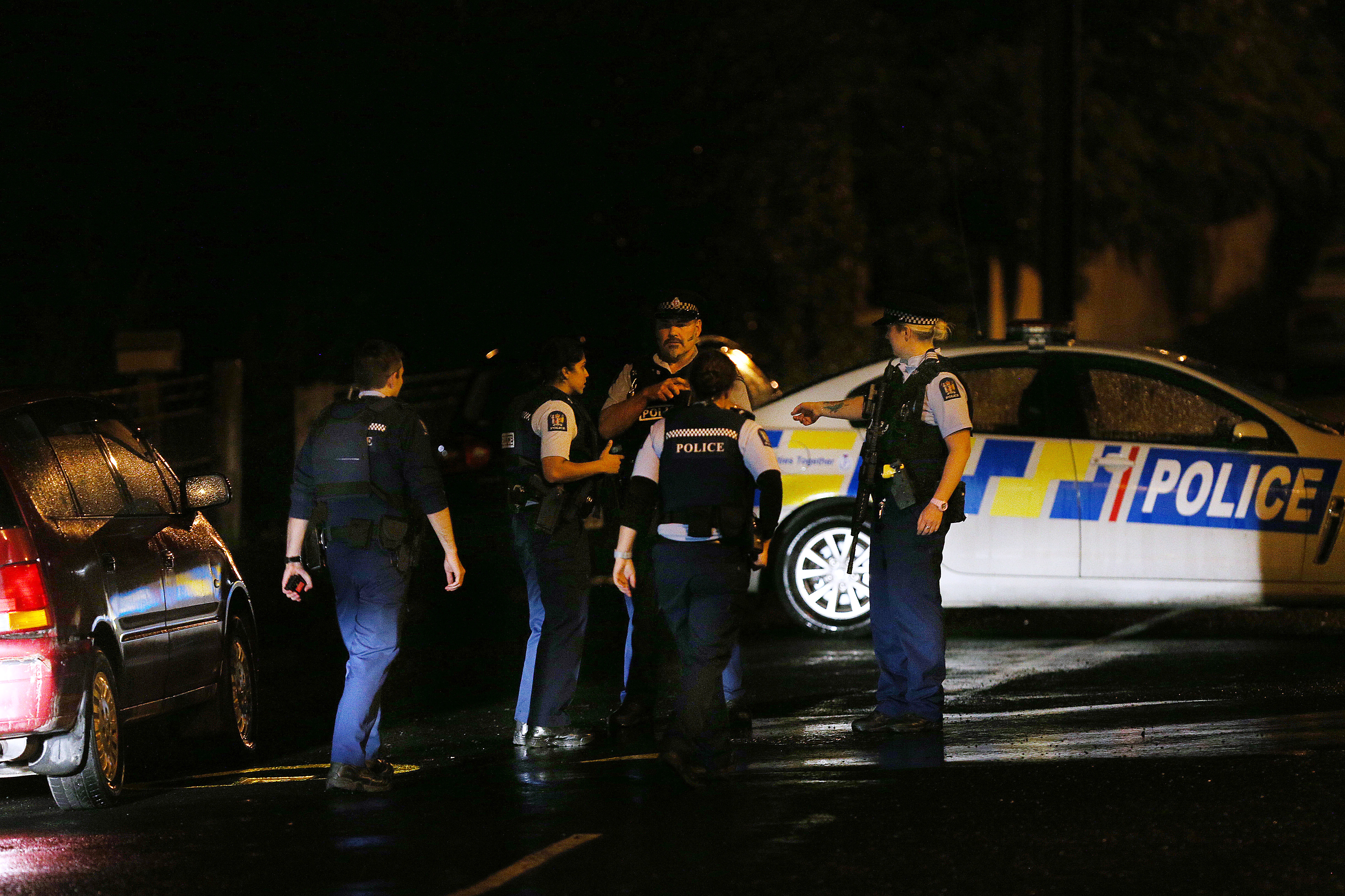 Police investigate a property at Somerville Street on March 15, 2019 in Dunedin, New Zealand. Residents have been evacuated off the street as police investigate a property believed to be related to the deadly terror attacks in Christchurch today. At least 49 people are confirmed dead, with more than 40 people injured following attacks on two mosques in Christchurch. (Getty Images)