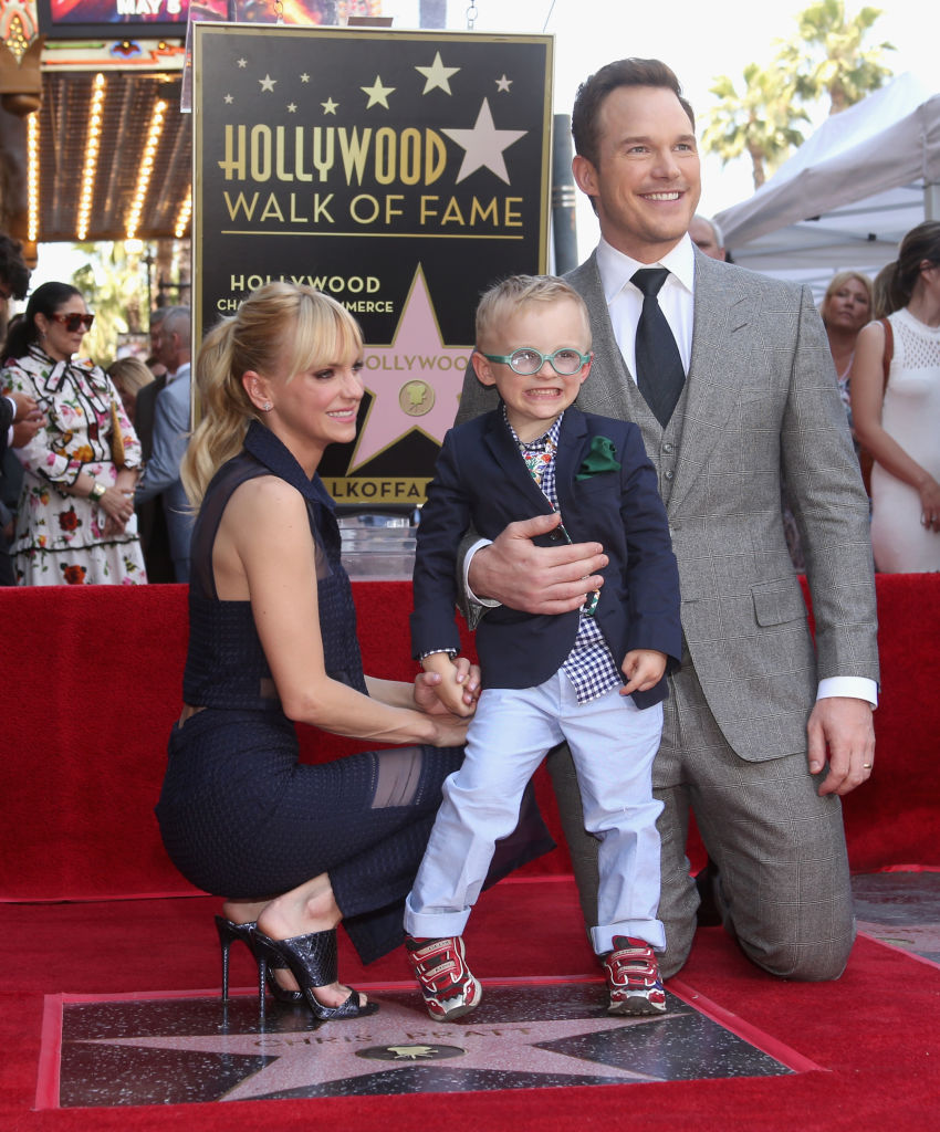 Actor Anna Faris, Jack Pratt and actor Chris Pratt at the Chris Pratt Walk Of Fame Star Ceremony on April 21, 2017 in Hollywood, California. (Photo by Jesse Grant/Getty Images for Disney)