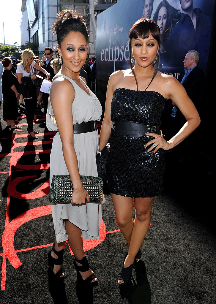 Actresses sisters Tamera Mowry (L) and Tia Mowry arrive to the premiere of Summit Entertainment's 'The Twilight Saga: Eclipse' during the 2010 Los Angeles Film Festival at Nokia Theatre L.A. Live on June 24, 2010 in Los Angeles, California. (Photo by Kevin Winter/Getty Images)