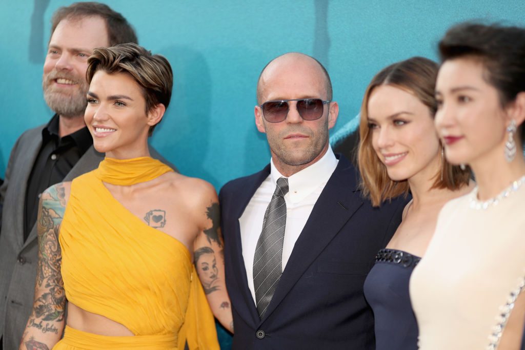 Rainn Wilson, Ruby Rose, Jason Statham, Jessica McNamee and Li Bingbing attend Warner Bros. Pictures And Gravity Pictures' Premiere of 'The Meg' at TCL Chinese Theatre IMAX on August 6, 2018 in Hollywood, California. (Photo by Christopher Polk/Getty Images)