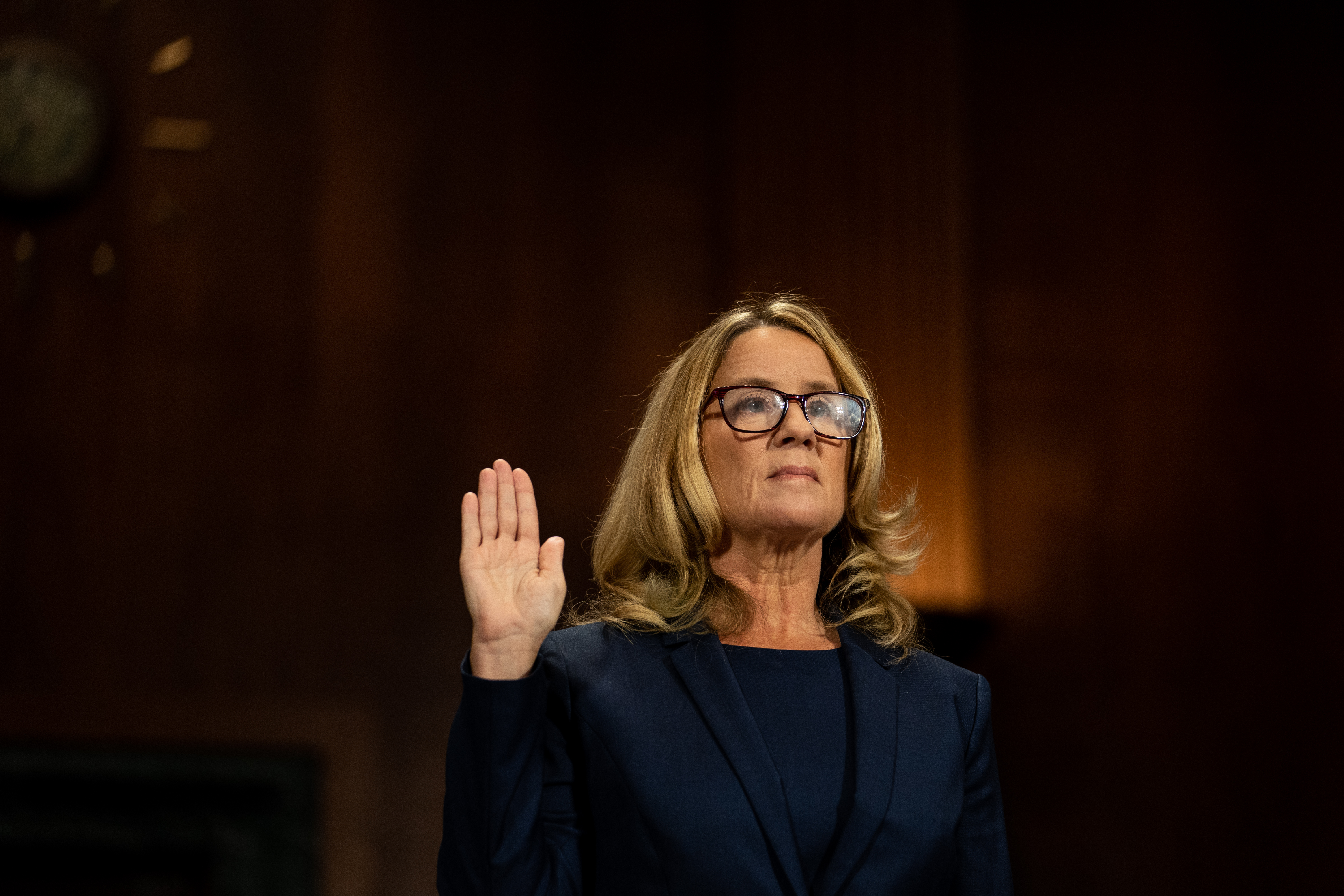 Christine Blasey Ford is sworn in prior to giving testimony before the U.S. Senate Judiciary Committee at the Dirksen Senate Office Building on Capitol Hill September 27, 2018, in Washington, DC. (Getty)