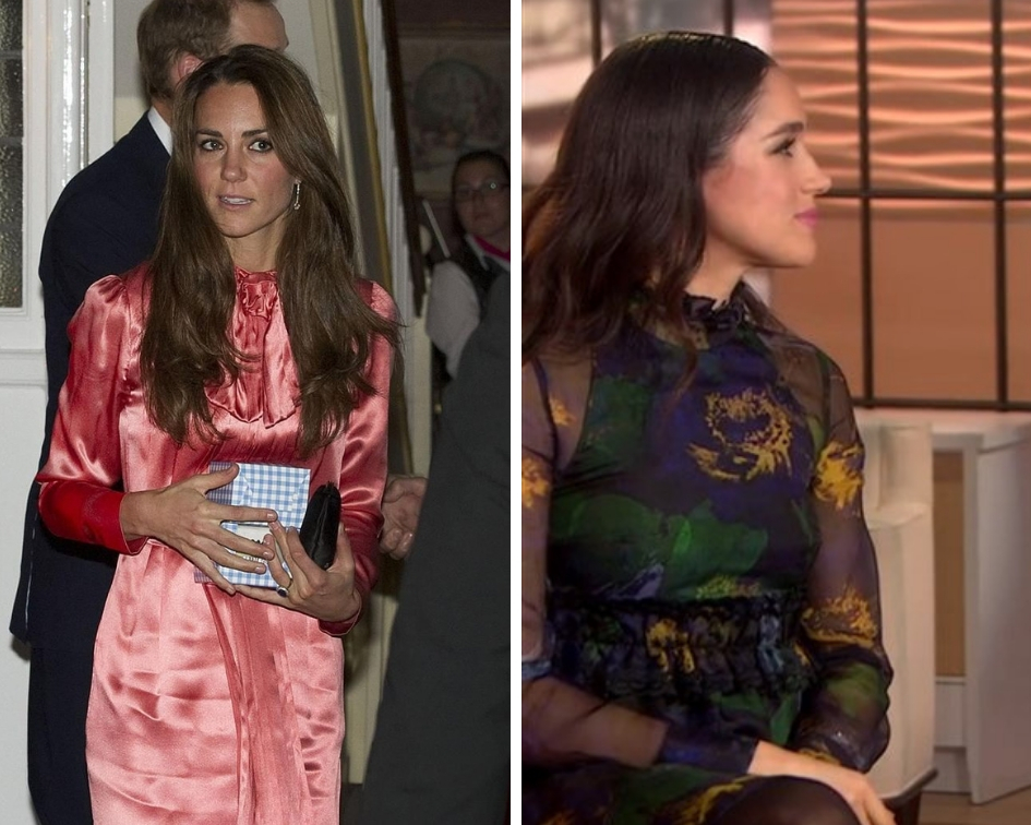 It looks like Meghan is picking fashion tips from her sister-in-law Kate when it comes to dressing herself for royal occasions, for both royals wore recycled clothes to have lunch with the Queen. (Source: Instagram/Twitter)