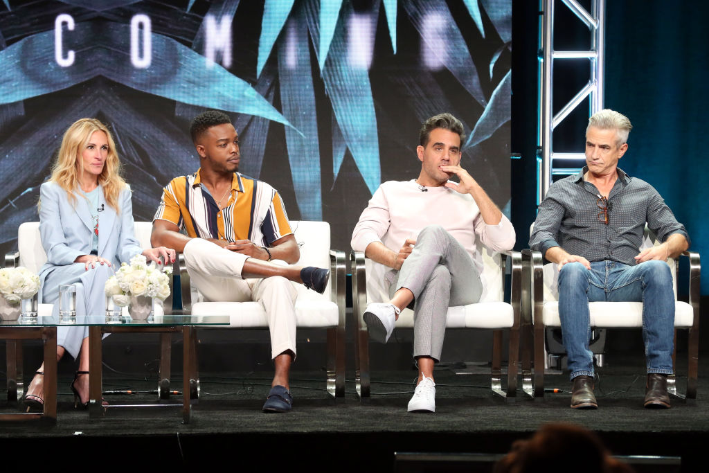 Actors Julia Roberts, Stephan James, Bobby Cannavale, and Dermot Mulroney of 'Homecoming' speak onstage during the Amazon Studios portion of the Summer 2018 TCA Press Tour at The Beverly Hilton Hotel on July 28, 2018 in Beverly Hills, California. (Photo by Frederick M. Brown/Getty Images)
