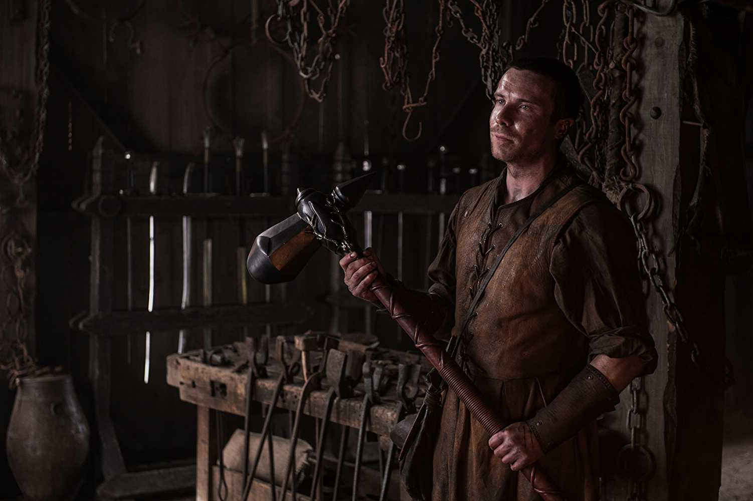 Gendry (Joe Dempsie) with his hammer on 'Game of Thrones'. Source: IMDB