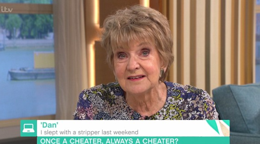 "Diedre Sanders advised a caller named ""Dan"" that it would be better for him to keep mum about having cheated on his partner with a stripper he met at a stag party. (Screenshot - ITV's This Morning)"
